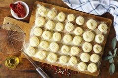 O gnocchi cru caseiro fresco encheu-se com os tomates secados em vi fotografia de stock