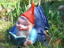 O gnomo do jardim encontra-se em sua casa de campo em um prado verde imagem de stock royalty free