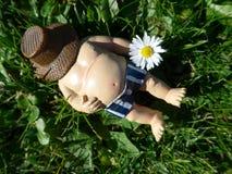 O gnomo do jardim encontra-se em um prado verde Fotos de Stock