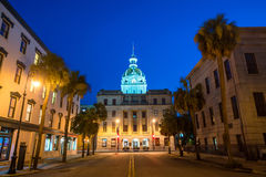 O Golden Dome de Savannah City Hall no savana Fotografia de Stock