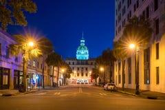 O Golden Dome de Savannah City Hall no savana Imagens de Stock