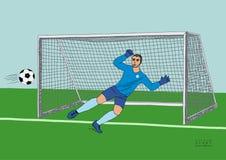 O goleiros que salta para travar a bola de futebol jogo de futebol Campeão atlético novo Vetor tirado mão horizontalmente colorid ilustração royalty free