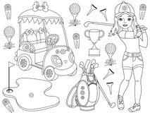 O golfe do vetor ajustou-se com a menina que joga o golfe e os acessórios do golfe ilustração stock