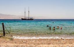 O Golfo de Aqaba, Mar Vermelho, Israel Imagens de Stock