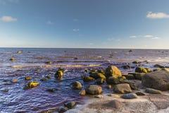 O golfo de Riga É uma costa rochosa, idade do gelo da testemunha Fotos de Stock Royalty Free