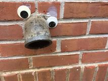 O googlie googly da tubulação de dreno eyes o fundo do tijolo & do almofariz fotografia de stock