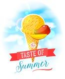 O gosto do verão Cartaz colorido brilhante com o cone de gelado da manga no fundo do céu Imagens de Stock Royalty Free