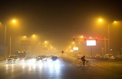 O governo do Pequim lançou o alerta alaranjado Foto de Stock