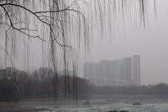 O governo do Pequim lançou o alerta vermelho Foto de Stock