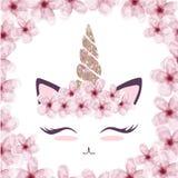 O gráfico bonito do gato com chifre do unicórnio e a flor coroam ilustração royalty free