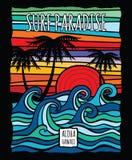 O gráfico da ressaca de Havaí do vintage aloha com o t-shirt do vetor das ondas e das palmeiras de oceano projeta ilustração do vetor