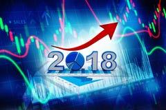 O gráfico de negócio com a seta ascendente e o símbolo 2018, representa o crescimento no ano novo 2018 ilustração 3D Imagens de Stock