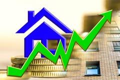 O gráfico do crescimento e um símbolo de bens imobiliários em um fundo do dinheiro Fotografia de Stock Royalty Free
