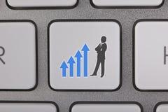O gráfico do sucesso move o homem de negócios Background Imagem de Stock
