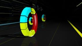 O gráfico futurista na rua com construções ilumina-se Fotografia de Stock