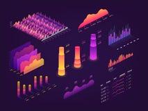 O gráfico isométrico futurista dos dados 3d, cartas de negócio, estatísticas diagram e elementos infographic do vetor ilustração royalty free