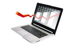 O gráfico mostra o tela de computador Foto de Stock