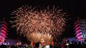 O grande fogo de artifício fotografia de stock