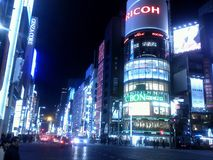 O grande Ginza na noite Fotografia de Stock