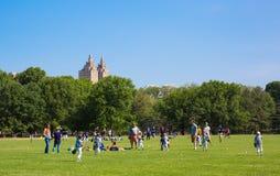 O grande gramado em Central Park fotografia de stock
