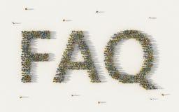 O grande grupo de pessoas que forma o FAQ que rotula o texto ou fez frequentemente perguntas no conceito social dos meios e da co ilustração stock