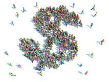 O grande grupo de pessoas recolheu junto na forma de um dólar Imagens de Stock Royalty Free