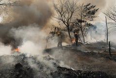 O grande incêndio estoira no precário de Kolkata Fotografia de Stock