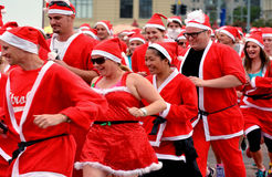 O grande KidsCan Santa Run Auckland Central Foto de Stock