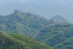 O Grande Muralha de China na poluição atmosférica Fotografia de Stock