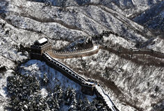 O Grande Muralha na neve do branco do inverno Imagem de Stock Royalty Free