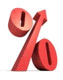 O grande símbolo dos por cento com seta dirigiu para cobrir Imagens de Stock Royalty Free