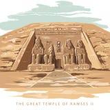 O grande templo em Abu Simbel, Egipto ilustração stock