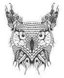 O grande zentangle da cabeça da coruja horned estilizou, vector, ilustração, ilustração royalty free