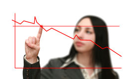 O gráfico da mulher de negócio mostra o crescimento Fotos de Stock