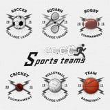 O grilo, o voleibol, o futebol, o basquetebol, a polpa, os logotipos dos crachás do rugby e as etiquetas para alguns usam-se Imagens de Stock Royalty Free