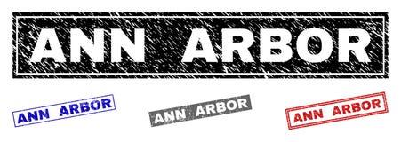 O Grunge ANN ARBOR riscou filigranas do retângulo ilustração stock