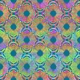 O grunge geométrico oriental encaracolado brilhante do sumário da forma colorido espirra a textura, teste padrão sem emenda no am ilustração stock