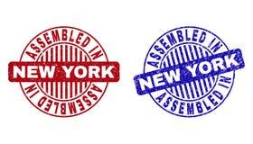 O Grunge MONTADO em NEW YORK Textured selos redondos ilustração royalty free