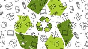 O Grunge recicla o sinal com ilustração do vetor dos produtos recicláveis Foto de Stock Royalty Free