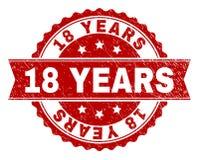 O Grunge Textured 18 ANOS de selo do selo ilustração royalty free