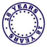 O Grunge Textured 18 ANOS em volta do selo do selo ilustração stock
