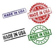 O Grunge Textured FEITO em selos do selo dos EUA ilustração royalty free