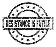 O Grunge Textured a RESISTÊNCIA É selo INÚTIL do selo ilustração do vetor