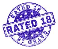 O Grunge Textured o selo AVALIADO de 18 selos ilustração do vetor