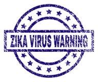 O Grunge Textured o selo do selo do AVISO do VÍRUS de ZIKA ilustração do vetor
