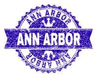 O Grunge Textured o selo do selo de ANN ARBOR com fita ilustração stock
