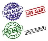 O Grunge Textured selos ALERTAS do selo do SIDA ilustração stock