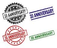 O Grunge Textured 20 selos do selo do ANIVERSÁRIO Imagens de Stock