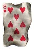 O grunge velho queimou o cartão de jogo oito dos corações Imagem de Stock
