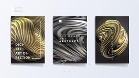 O grupo abstrato do molde de tampa com forma de prata e ouro torcida de 3d, pode ser usado para o catálogo da joia, bijouterie lu ilustração stock
